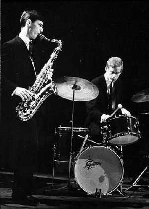 Jan Garbarek, Jon Christensen, 1970 (Foto: Jazzbasen.no)