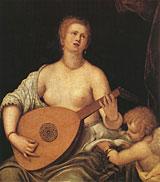 Luttspillende Venus med Cupido