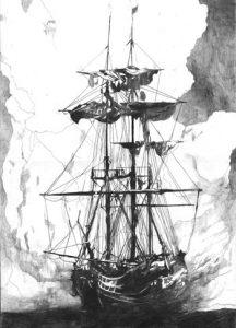 "Kim Hiorthøy: ""Ship"" (tegning, 2005)"
