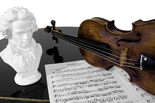 Beethoven, fiolin og noter