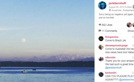 Fra Jarle Bernhofts Instagramkonto