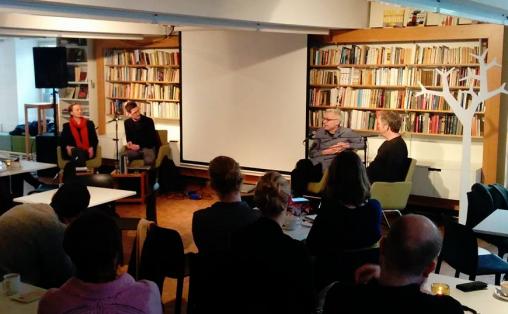 NyMusikks paneldebatt med Cecilie Ore, Øyvind Mæland, Rolf Wallin og Glenn Erik Haugland (ordstyrer) Foto: Beate Styri/Norsk Komponistforening