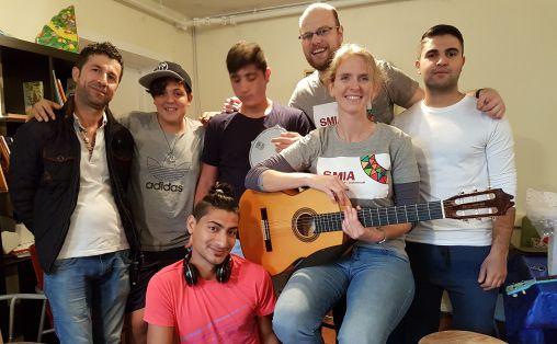 Sang- og musikkgruppe på Torshov asylmottak  Foto: Mari Tangen, Musikkens studieforbund
