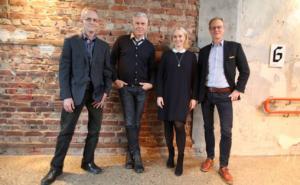 Fra venstre Thomas Stenderup (Den Norske Filmskolen), Jørn Mortensen (Kunshøgskolen i Oslo), Maria Mediaas Jørstad (Talent Norge) og Peter Tornquist (Norges musikkhøgskole)