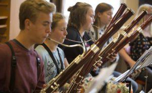 Valdre Sommersymfoni 2016, Gruppeprøver med blåsere og strykere i Valdreshallen.