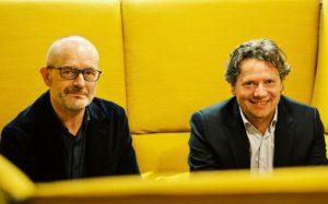 """Forfatterne av """"Musikk og hjernen"""". Til venstre Are Brean, til høyre Geir Olve Skeie"""