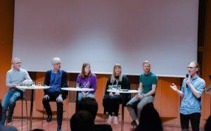 Kulturrådet, NMH/utøvere og konsertarrangører møtte til debatt. Øyvind Skjerven Larsen ledet debatten (nest lengst t.h.), musikkstudent Sverker Rundquist initierte