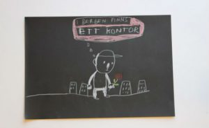 """""""I Bergen finns ett kontor."""" Den svenske kunstneren Sara Granér dokumenterte konferansen, og illustrasjonen «I Bergen finns ett kontor» ble stadig referert til. Kontoret er nå et steg nærmere virkeligheten"""