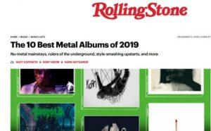Faksimile av magasinet Rolling Stone og oppslaget om de ti beste metalalbumene i 2019