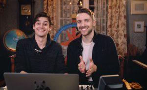 Komponist Thomas Leypoldt (t.v.) og filmregissør Anders Øvergaard i Andyax Productions