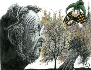 Illustrasjon laget av kunstneren Thore Hansen, som Madsen har kjent og samarbeidet med i mange år